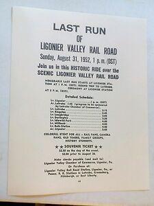 1952 Ligonier Valley Railroad Last Run Historic Ride To Latrobe PA. Repo Poster