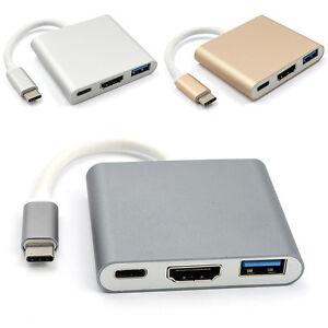 Type-C-USB-3-1-to-USB-C-4K-USB3-0-Adapter-3-in-1-Hub-For-Apple-Macbook-Gray-C7Z