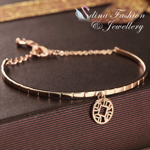 18K Rose Gold Plated Slim Delicate Hollow Out Round Pendant Bracelet Jewelry