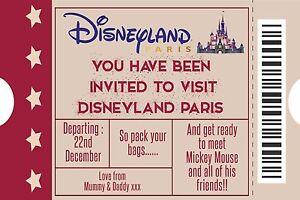 Personalised Boy/Girl Ticket Style Disneyland Paris ...