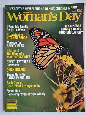 WOMAN'S DAY magazine S 1975 Butterfly-COOKBOOK #224 Leftovers-KNIT CROCHET SEW
