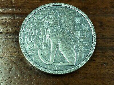 1-1//2 oz .999 Silver Round NEW Old World Style Egyptian God Cat Bastet