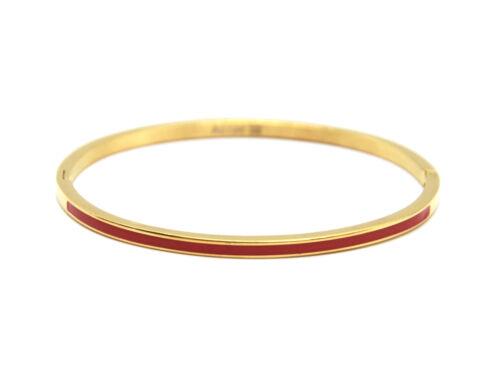 BC3142F Bracelet Jonc Fin Acier Doré avec Bande Email Rouge