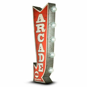 ARCADE-Arrow-Double-Sided-Sign-W-LED-Lights-Game-Room-Bar-Man-Cave-Retro-Red-3D