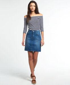 New Womens Superdry A-Line Denim Skirt Flash Blue  980d39c6987b