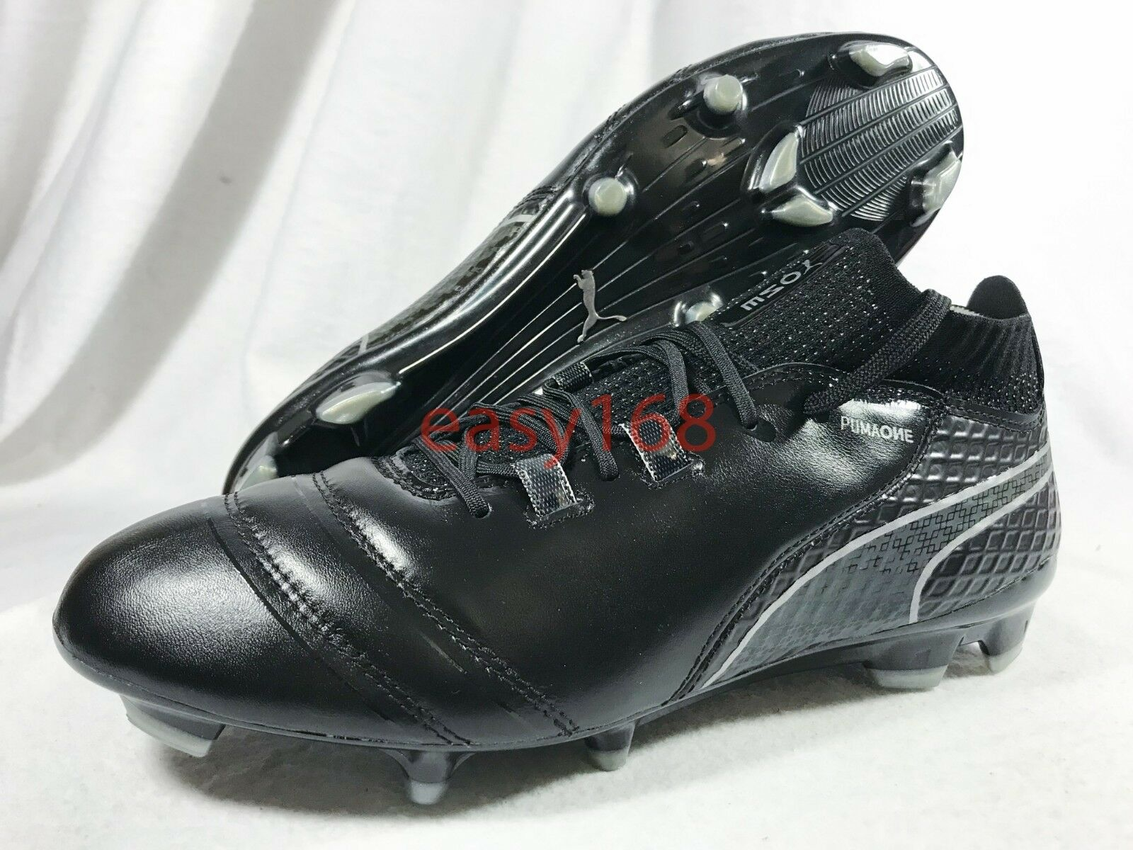 New Puma ONE 17.1 FG Sz 9 Mens 104062-05 Black Leather Soccer Cleats 42 Boots