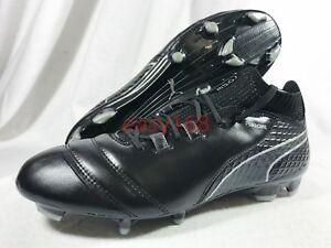 New Puma ONE 17.1 FG Sz 10 Mens 104062-05 Black Leather Soccer ... 552b2293dbeb4