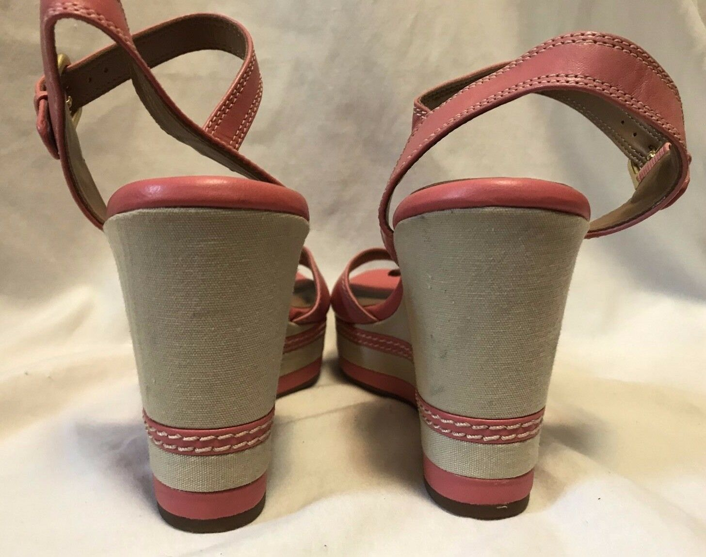 69e13b330af Clarks ZIA Wedges Sandals Women s 9M Pink Coral Buckles Canvas Heels Dress  Shoes