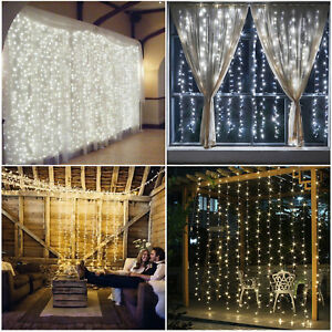 300 1500 led weihnachten beleuchtung vorhang lichterkette fenster lichtervorhang ebay. Black Bedroom Furniture Sets. Home Design Ideas