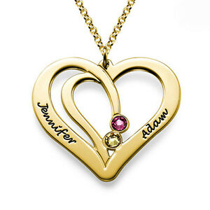 Engraved-Couples-Birthstone-Necklace-in-Gold-Plating-Personalized-USA-Seller