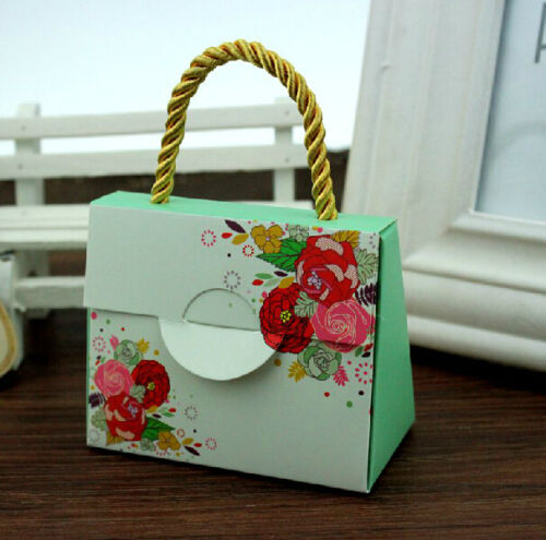 50pcs Cute Handbag Wedding Birthday Favor Party Boxes Gift Candy Baby shower Box