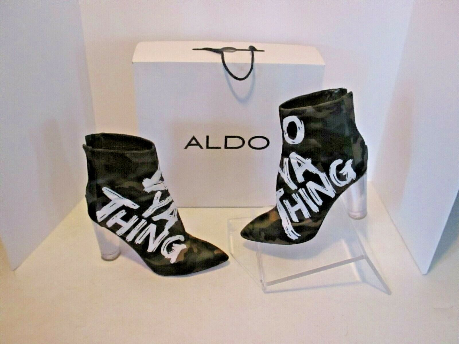 Aldo Womens Oceani Ankle Bootie Do Ya Thing clear heel size 8 camouflage j232