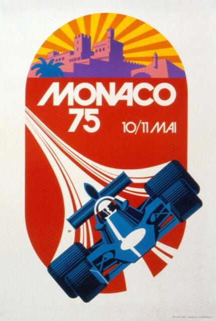 VINTAGE AUTO POSTER - MONACO GRAND PRIX 1975 by Roland Hugon 25.5x35.5 Art Print
