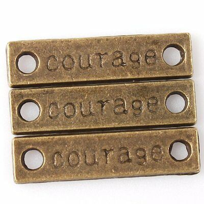 50pcs 144812 Hotsale Bronze Tone Carved Courage Charms Alloy Connector Pendants