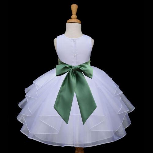 NEW WHITE WEDDING FLOWER GIRL DRESS PAGEANT BRIDESMAID ORGANZA 6M 18M 2 4 6 8 10