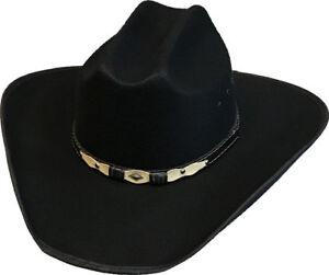 New-Faux-Black-Felt-Cattleman-Cowboy-Cowgirl-Hat-Western-Adult-Sizes-Mens-Womens
