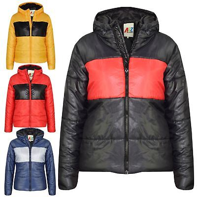 Unisex Kids Contrast Parka Inner Jacket Quilted Fishtail Boys Girls 7-14 Years