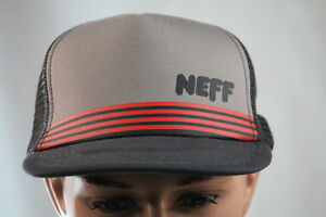 NEFF-CHARCOAL-MESH-BACK-ADJUSTABLE-SNAP-BACK-FLAT-BILL-BALL-CAP-HAT