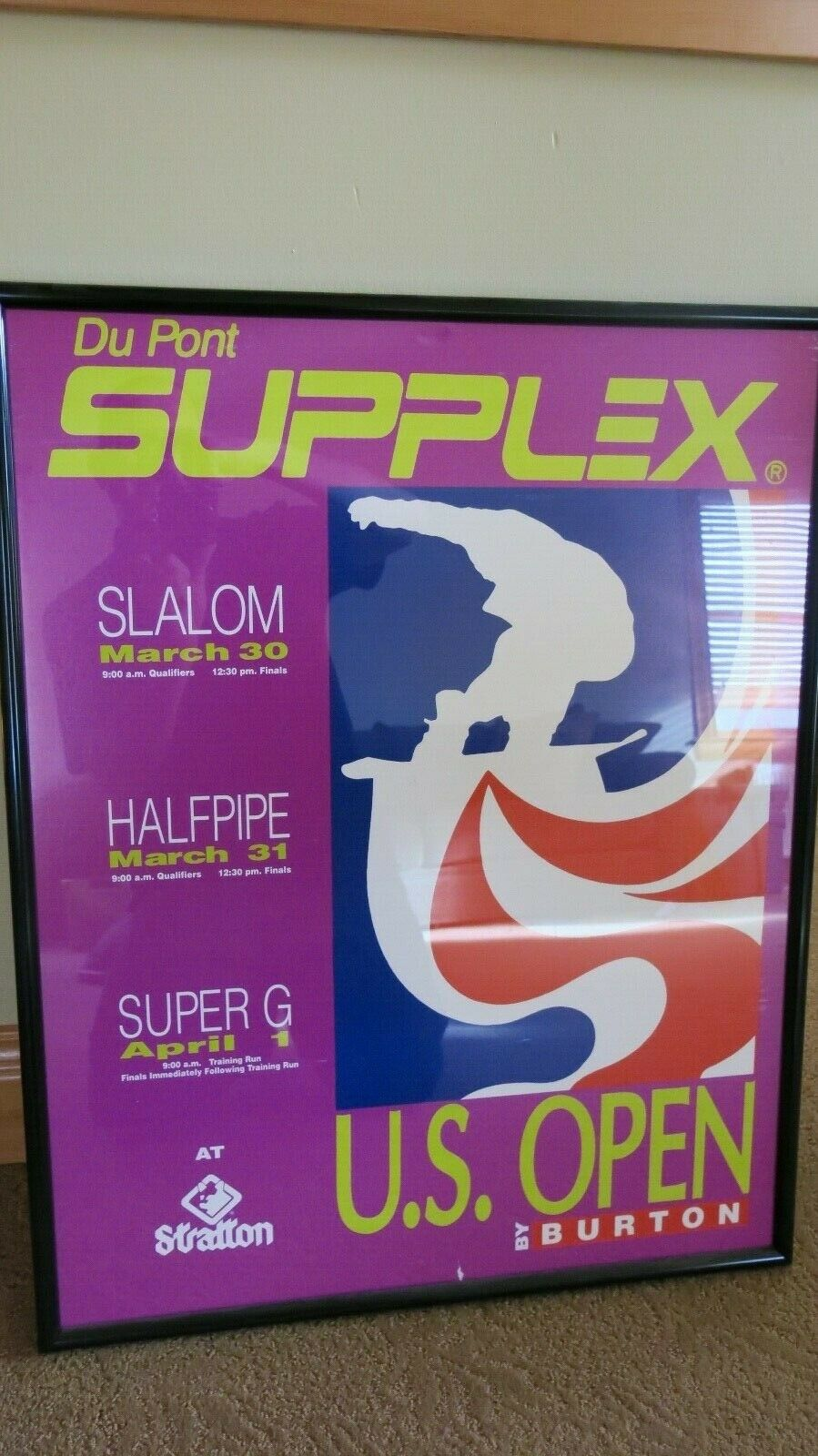 ULTRA RARE Framed mid-90's Burton Snowboards U.S. Open poster