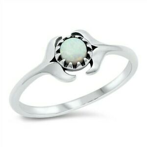USA Seller Solitaire Ring Sterling Silver 925 Jewelry Selectable White Lab Opal