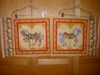 Fabric Vip Carousel Horses Panel Out Of Print And Rare