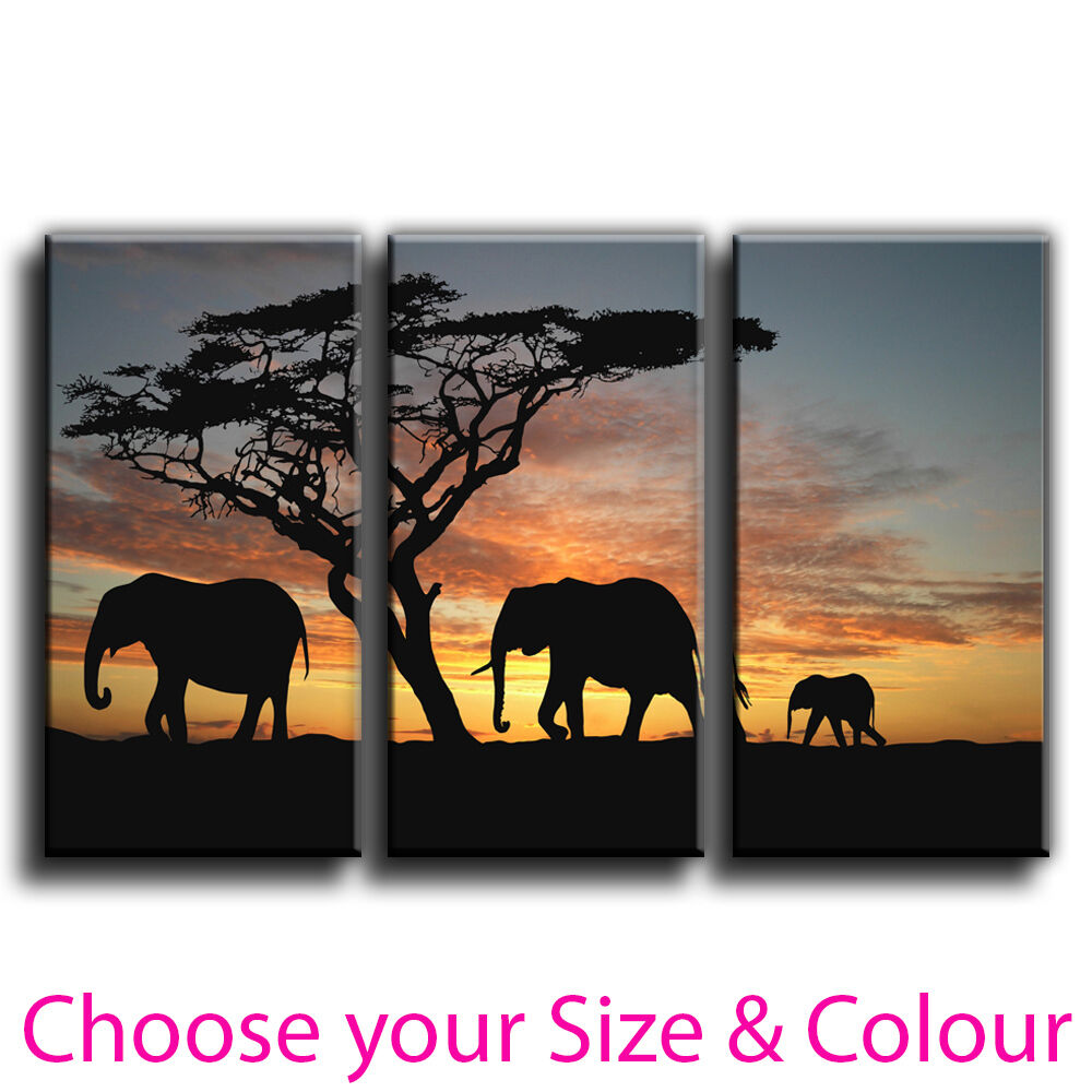 Elephant Canvas Print Wall Art Treble Picture 7 Gallery Grade