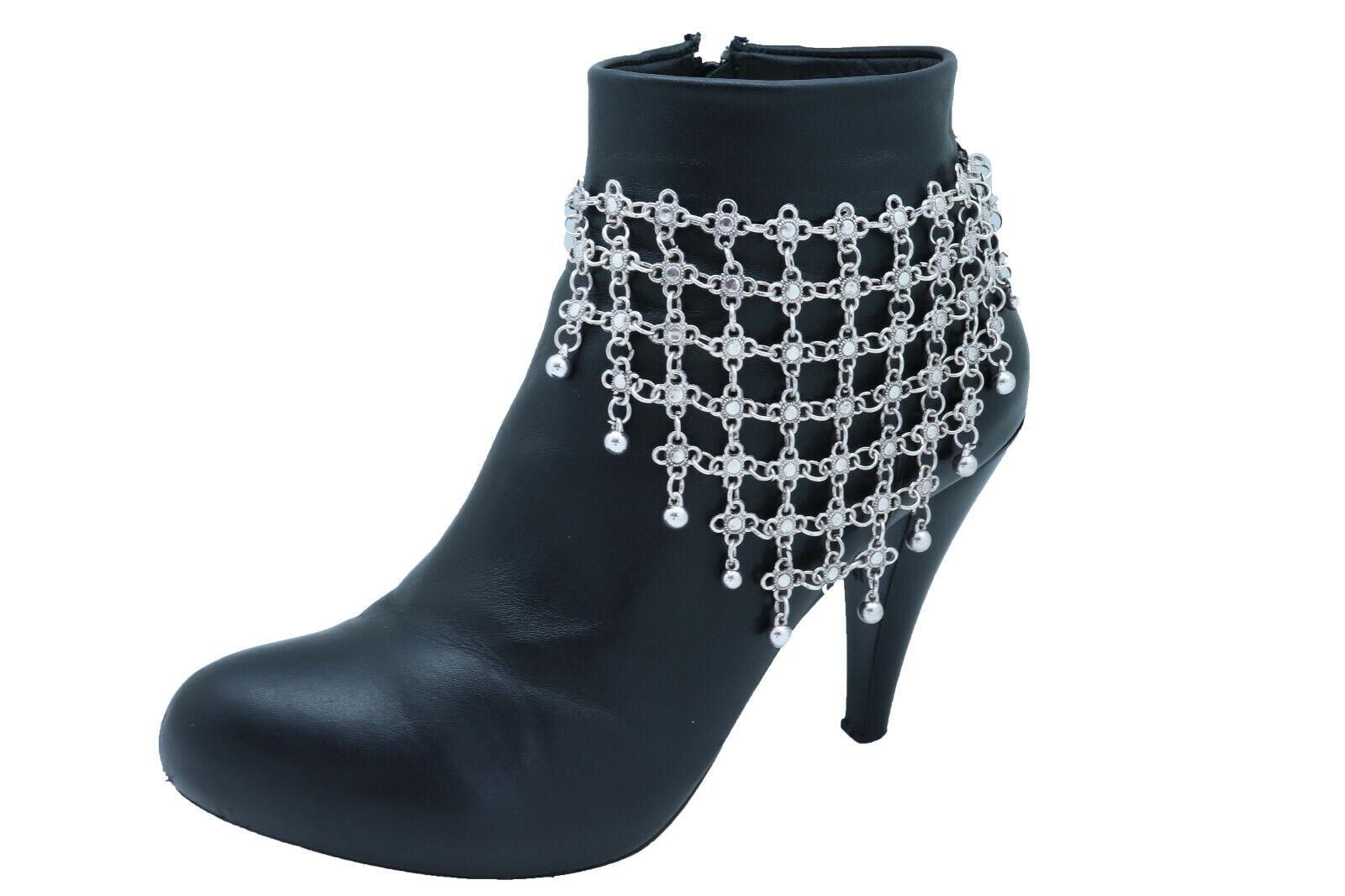 Women Silver Metal Chain Boot Bracelet Shoe Flower Vintage Look Net Charm Anklet