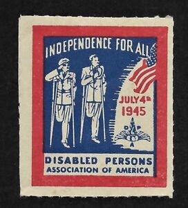 1945 Patriotic Stamp for Independence for the Disabled Cinderella Stamp