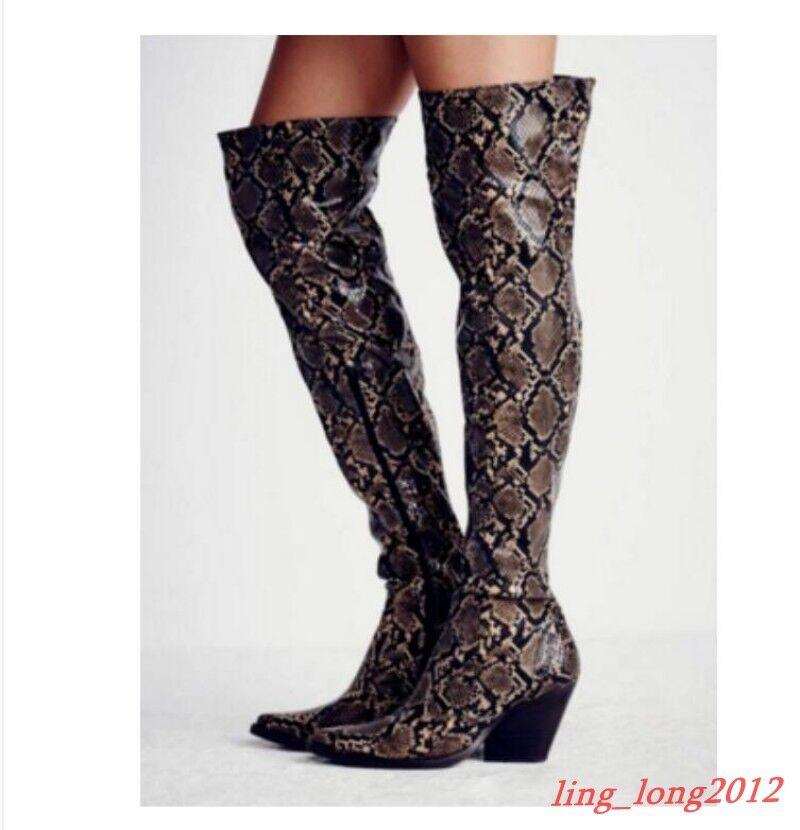 femmes Block Heel Cowboy Snakeskin Western Pointed Toe chaussures Zip Over Knee bottes