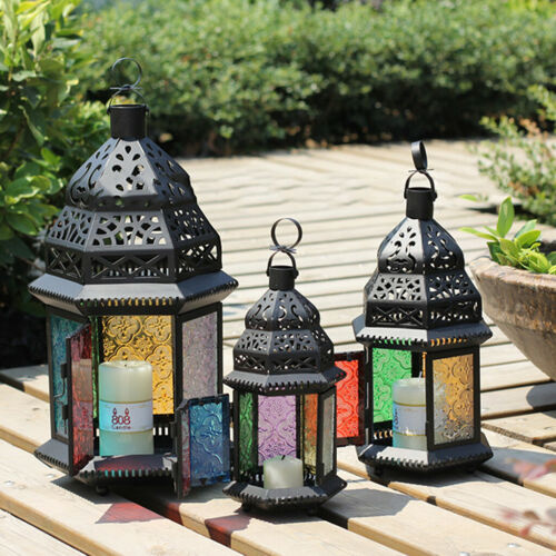 Weinlese-Metallschloss-Laterne-Kerze-Halter-Garten-Nacht-im Freientee-Licht