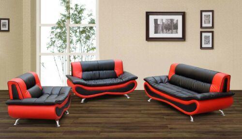 3-Piece Living Room Sofa Set Faux Leather