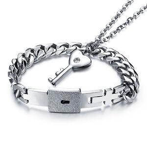 Details zu Edelstahl Silber Schlüssel Herren Damen Schmuck Set Armband Kette Halskette