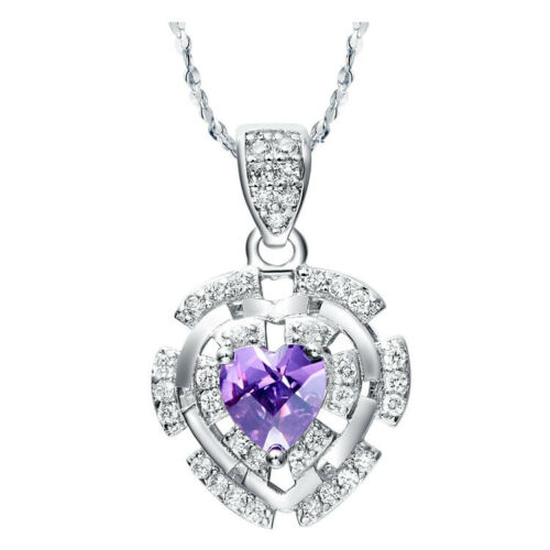 Real 925 Sterling Silver  Pink//Purple CZ Jewellery Set Necklace,Earring,ring