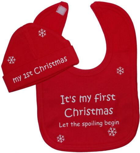 My First Christmas Baby Feeding Bib & Hat Cap Newborn-12m Boy Girl Xmas Gift