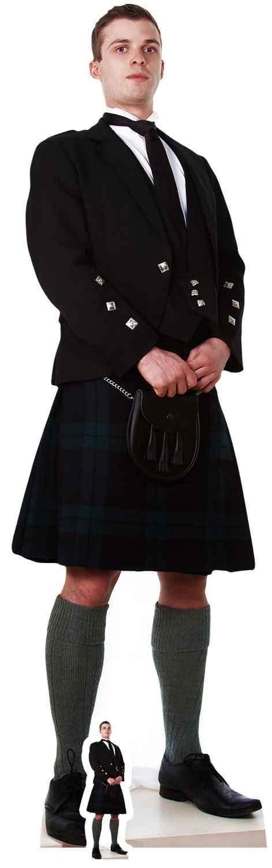 Schottische Mann in Kilt lebensechte Größe Pappfigur Aufstell Aufsteller -
