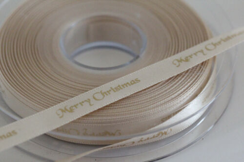 1m 2m 3m 5m 10m 20m Berisfords CREAM MERRY CHRISTMAS SATIN Ribbon 10mm /& 25mm