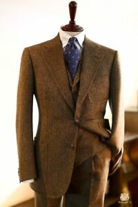 Men's Brown Herringbone Tweed Suit Vintage Suit Blazer Retro Tuxedo Suit Custom