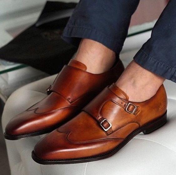 Men Bespoke Handmade Genuine Tan Leather Double Monk Oxford Wingtip shoes