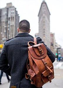Men/'s Genuine Leather Men/'s Backpack Bag Laptop Satchel Briefcase Brown Vintage