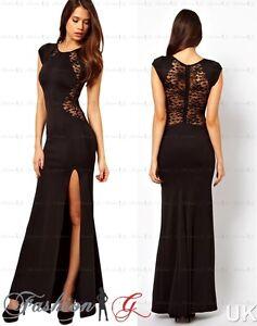 6b019630cc21 Womens Evening Dress Black Maxi Ball Gown Prom Party Formal Celeb ...