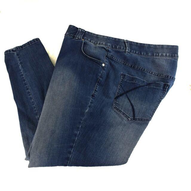 Lane Bryant Skinny Jeans Womens Plus Size 22 Blue Light Wash Faded Tummy Control