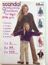 Panda Scandal womens & girls knitting pattern book poncho,jumper, hats,scarves