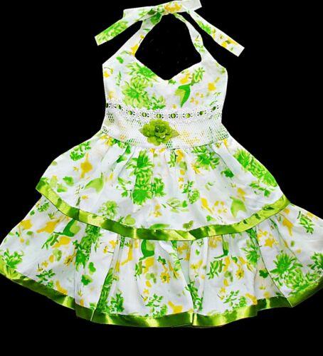 6 NWT 5 Lele Kids girls boutique ribbon tier eyelet flower halter dress 3T 4