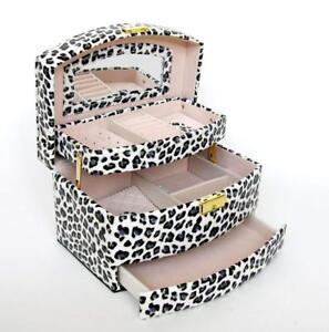 Nachdenklich Schmuckkasten Schmuckkoffer Schmuckkästchen Kosmetikkoffer Cg Leopard / Blau