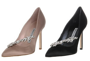 163da1adfe4 New Manolo Blahnik NADIRA Nude Satin Beige Jewel Shoes Pumps BB ...