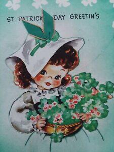 1950s-Vtg-Irish-GIRL-Green-Ribbon-St-Patricks-Day-GREETING-CARD