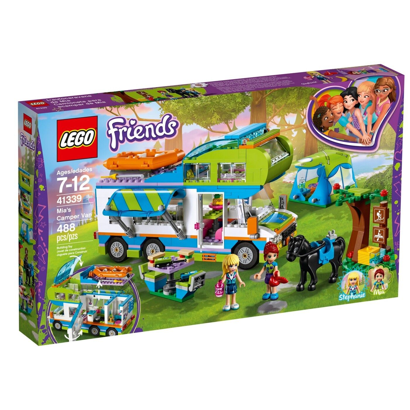 LEGO FRIENDS / MIA'S CAMPER VAN RAFT HORSE STEPHANIE 488 PIECES / 41339 SEALED