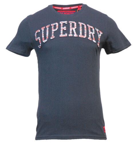 Superdry Mens New Varsity Embossed Short Sleeve T Shirt Navy Blue White