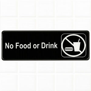 No-Food-or-Drink-Sign-for-Door-Wall-Black-and-White-9-x-3-inches-Sign