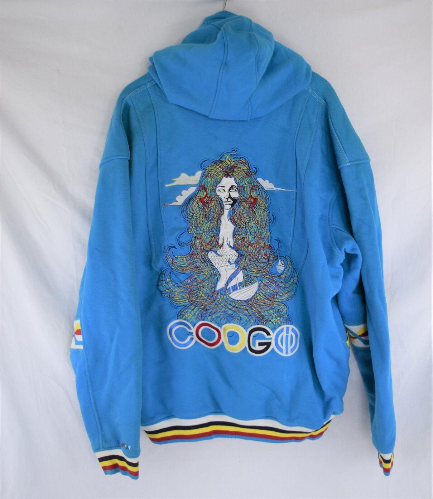 COOGI Hoodie Hooded Zip up Sweatshirt EmbroideROT Bright Teal Rare 4XL EUC